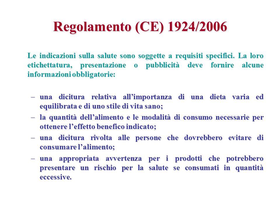 Regolamento (CE) 1924/2006 Le indicazioni sulla salute sono soggette a requisiti specifici. La loro etichettatura, presentazione o pubblicità deve for