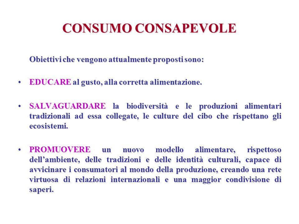 CONSUMO CONSAPEVOLE Obiettivi che vengono attualmente proposti sono: EDUCARE al gusto, alla corretta alimentazione.EDUCARE al gusto, alla corretta ali
