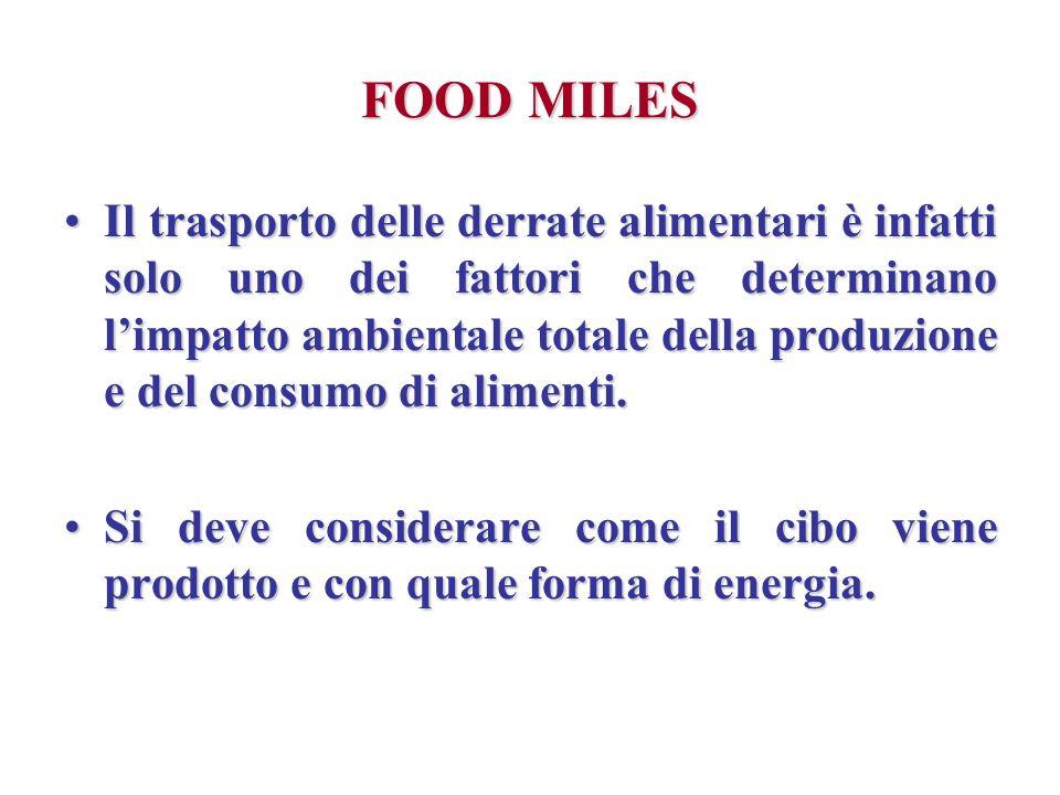 FOOD MILES Il trasporto delle derrate alimentari è infatti solo uno dei fattori che determinano limpatto ambientale totale della produzione e del cons