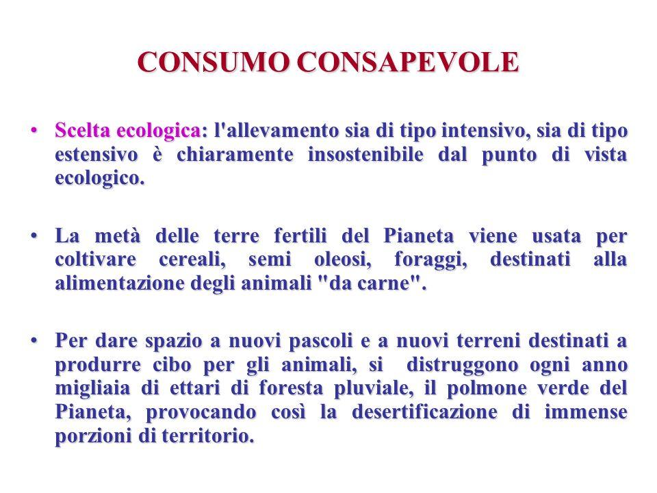 CONSUMO CONSAPEVOLE Scelta ecologica: l'allevamento sia di tipo intensivo, sia di tipo estensivo è chiaramente insostenibile dal punto di vista ecolog
