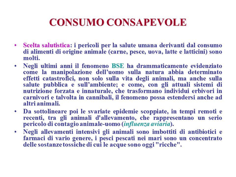CONSUMO CONSAPEVOLE Scelta salutistica: i pericoli per la salute umana derivanti dal consumo di alimenti di origine animale (carne, pesce, uova, latte