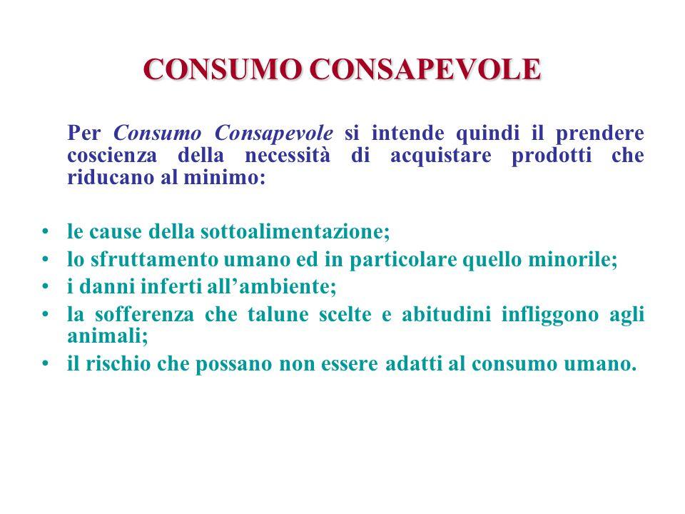 CONSUMO CONSAPEVOLE Per Consumo Consapevole si intende quindi il prendere coscienza della necessità di acquistare prodotti che riducano al minimo: le