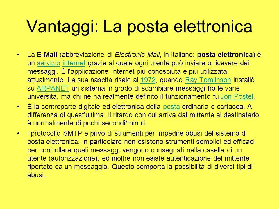 Vantaggi: La posta elettronica La E-Mail (abbreviazione di Electronic Mail, in italiano: posta elettronica) è un servizio internet grazie al quale ogn
