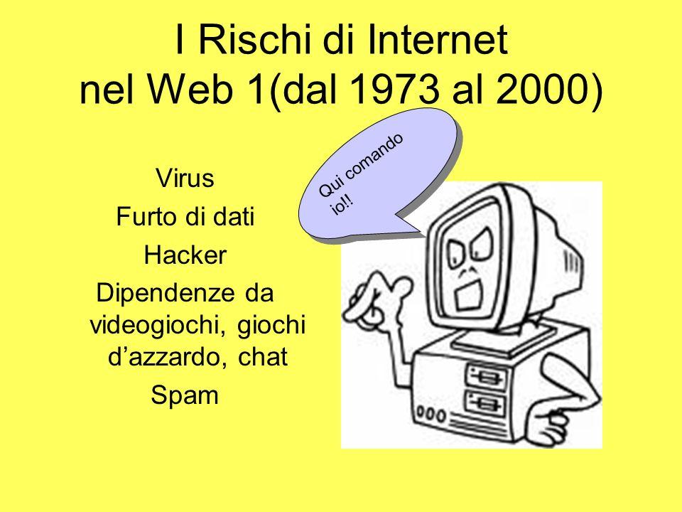 I Rischi di Internet nel Web 1(dal 1973 al 2000) Virus Furto di dati Hacker Dipendenze da videogiochi, giochi dazzardo, chat Spam Qui comando io!!