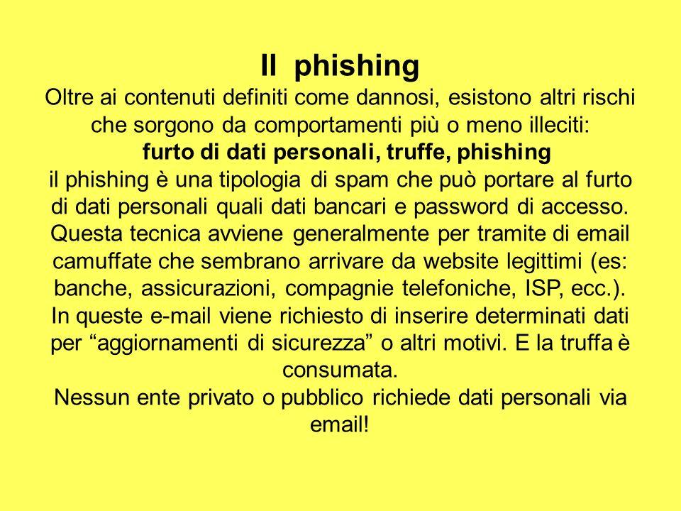 Il phishing Oltre ai contenuti definiti come dannosi, esistono altri rischi che sorgono da comportamenti più o meno illeciti: furto di dati personali,