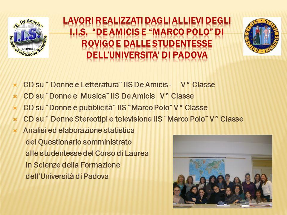 CD su Donne e Letteratura IIS De Amicis - V° Classe CD su Donne e Musica IIS De Amicis V° Classe CD su Donne e pubblicità IIS Marco Polo V° Classe CD