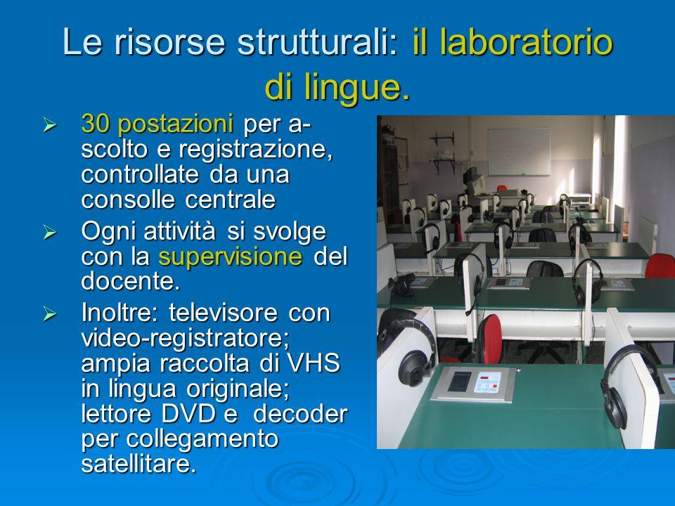 Le risorse strutturali: il laboratorio di lingue. 30 postazioni per a- scolto e registrazione, controllate da una consolle centrale 30 postazioni per