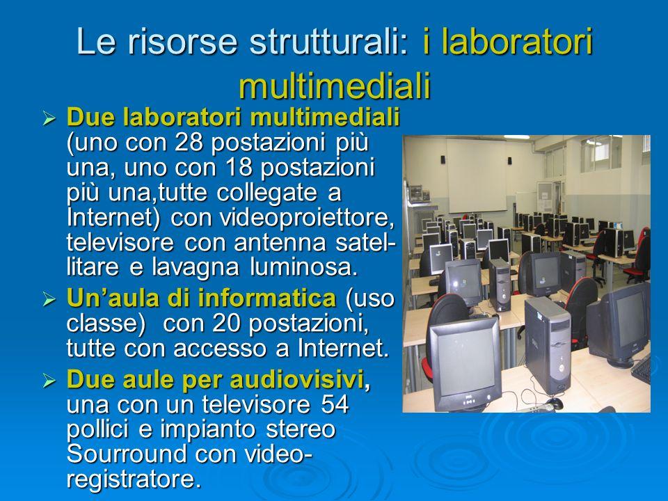 Le risorse strutturali: i laboratori multimediali Due laboratori multimediali (uno con 28 postazioni più una, uno con 18 postazioni più una,tutte coll