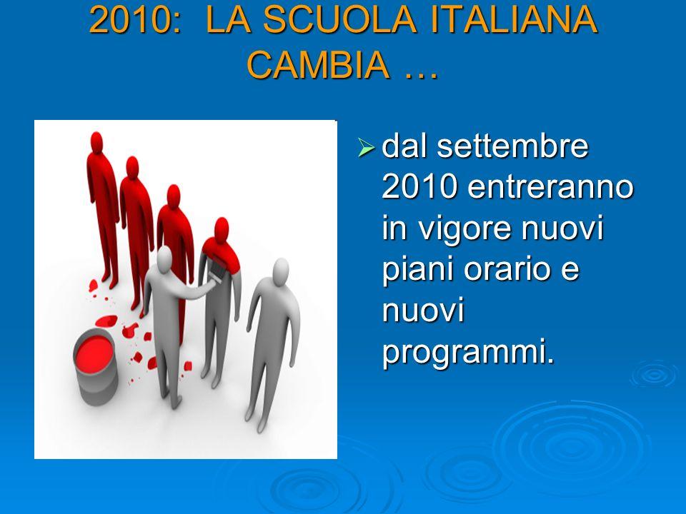 2010: LA SCUOLA ITALIANA CAMBIA … dal settembre 2010 entreranno in vigore nuovi piani orario e nuovi programmi. dal settembre 2010 entreranno in vigor