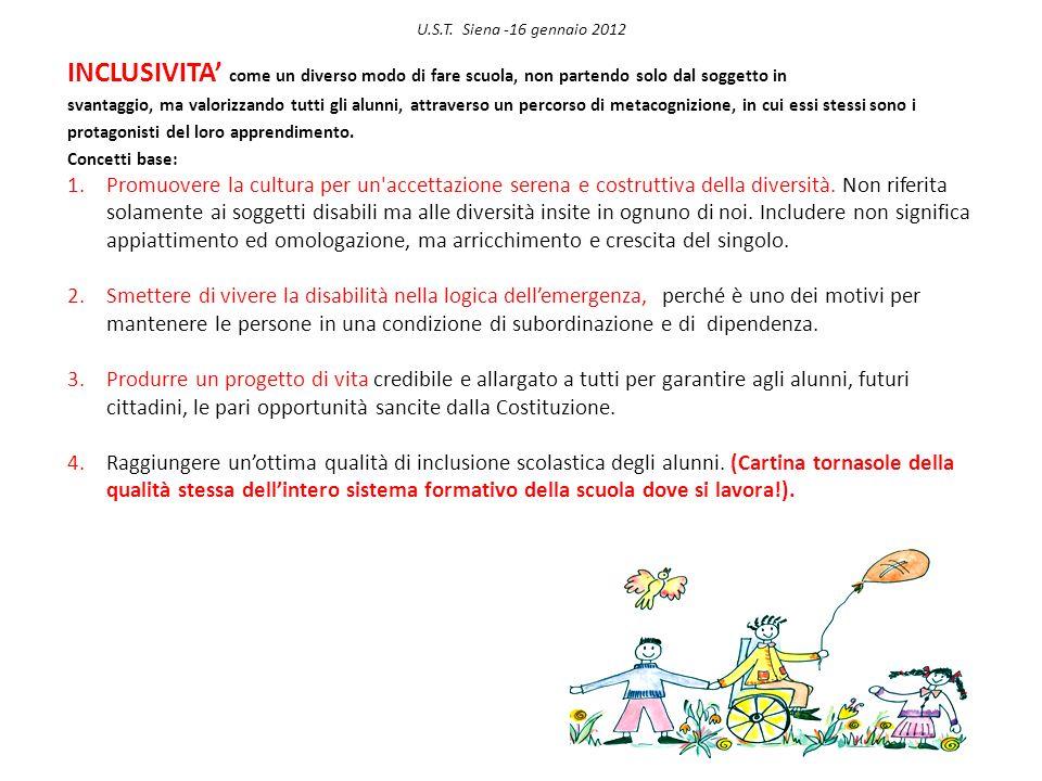 U.S.T. Siena -16 gennaio 2012 INCLUSIVITA come un diverso modo di fare scuola, non partendo solo dal soggetto in svantaggio, ma valorizzando tutti gli
