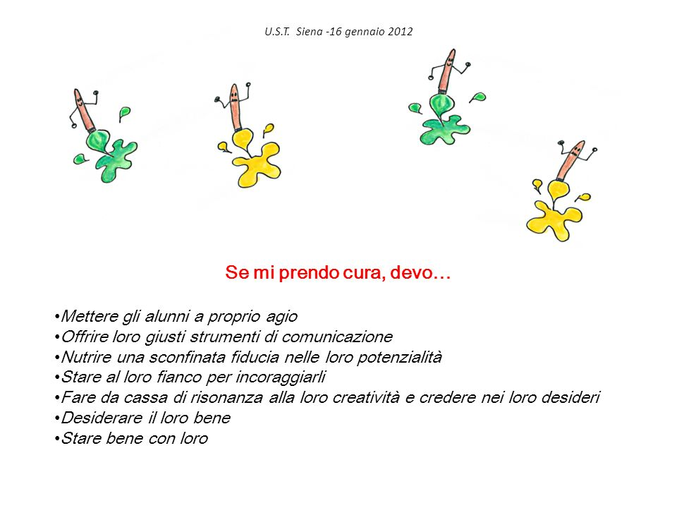 U.S.T. Siena -16 gennaio 2012 Se mi prendo cura, devo… Mettere gli alunni a proprio agio Offrire loro giusti strumenti di comunicazione Nutrire una sc