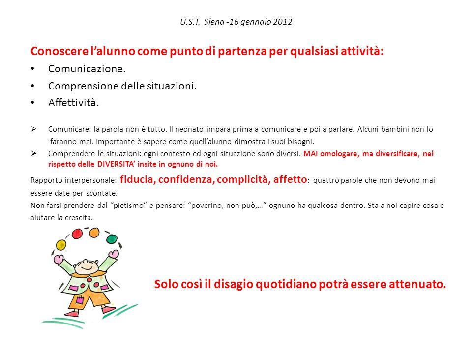 U.S.T. Siena -16 gennaio 2012 Conoscere lalunno come punto di partenza per qualsiasi attività: Comunicazione. Comprensione delle situazioni. Affettivi
