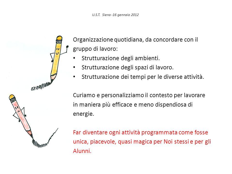 U.S.T. Siena -16 gennaio 2012 Organizzazione quotidiana, da concordare con il gruppo di lavoro: Strutturazione degli ambienti. Strutturazione degli sp
