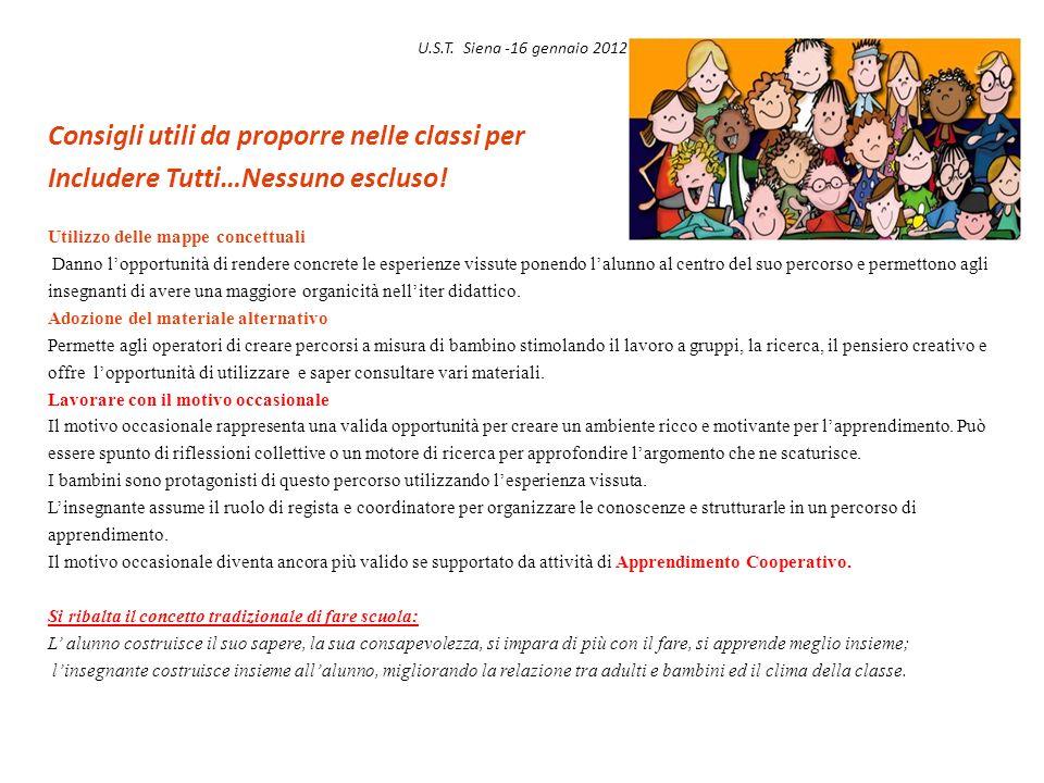 U.S.T. Siena -16 gennaio 2012 Consigli utili da proporre nelle classi per Includere Tutti…Nessuno escluso! Utilizzo delle mappe concettuali Danno lopp