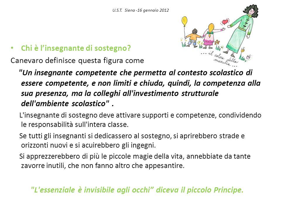 U.S.T. Siena -16 gennaio 2012 Chi è linsegnante di sostegno? Canevaro definisce questa figura come