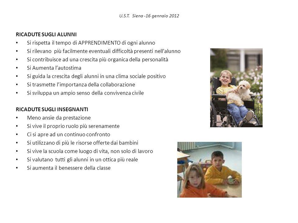 U.S.T. Siena -16 gennaio 2012 RICADUTE SUGLI ALUNNI Si rispetta il tempo di APPRENDIMENTO di ogni alunno Si rilevano più facilmente eventuali difficol