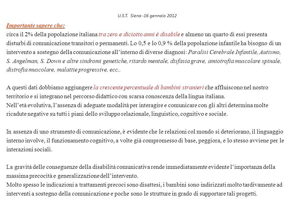 U.S.T. Siena -16 gennaio 2012 Importante sapere che: circa il 2% della popolazione italiana tra zero e diciotto anni è disabile e almeno un quarto di