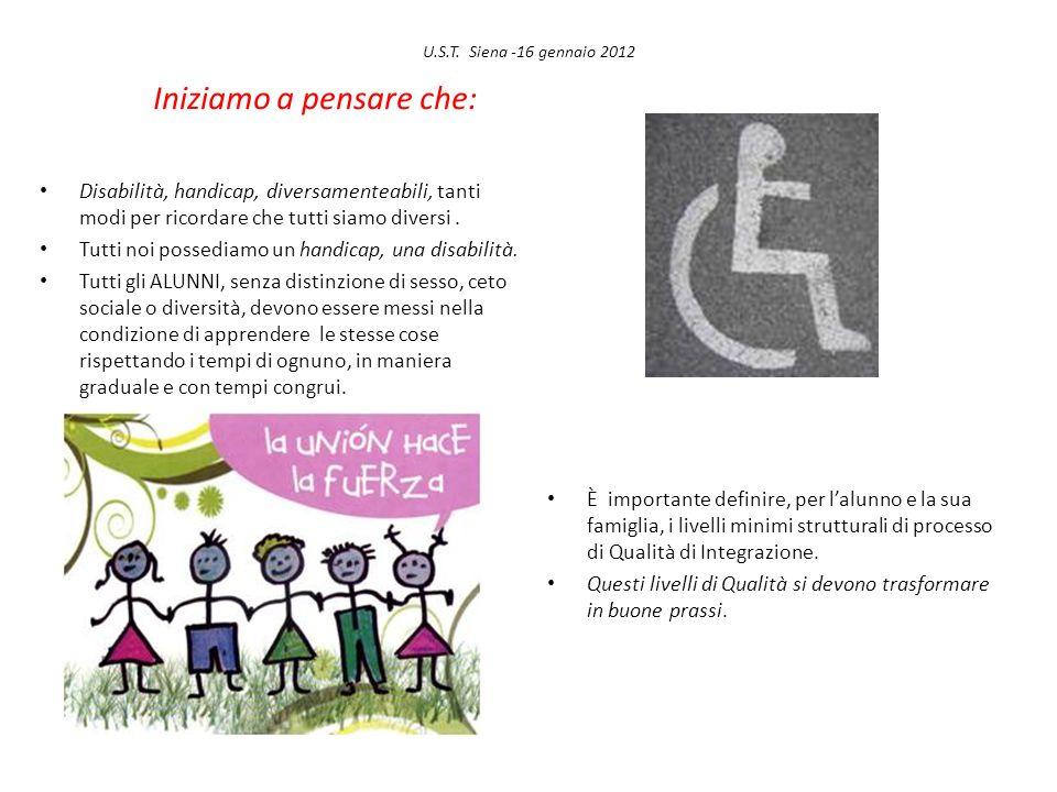 U.S.T. Siena -16 gennaio 2012 Iniziamo a pensare che: Disabilità, handicap, diversamenteabili, tanti modi per ricordare che tutti siamo diversi. Tutti