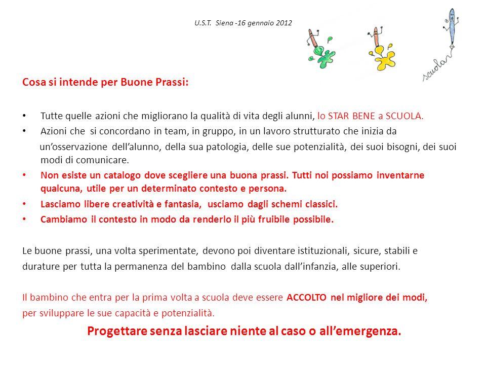 U.S.T. Siena -16 gennaio 2012 Cosa si intende per Buone Prassi: Tutte quelle azioni che migliorano la qualità di vita degli alunni, lo STAR BENE a SCU