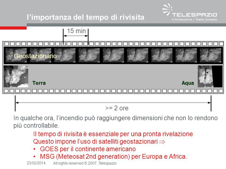 23/02/2014All rights reserved © 2007, Telespazio limportanza del tempo di rivisita TerraAqua Il tempo di rivisita è essenziale per una pronta rivelazione Questo impone luso di satelliti geostazionari GOES per il continente americano MSG (Meteosat 2nd generation) per Europa e Africa.