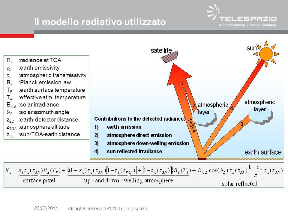 23/02/2014All rights reserved © 2007, Telespazio R :radiance at TOA :earth emissivity :atmospheric transmissivity B :Planck emission law T E :earth su