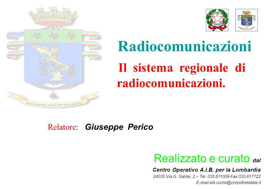 Radiocomunicazioni Il sistema regionale di radiocomunicazioni. Realizzato e curato dal Centro Operativo A.I.B. per la Lombardia 24035 Via G. Galilei,