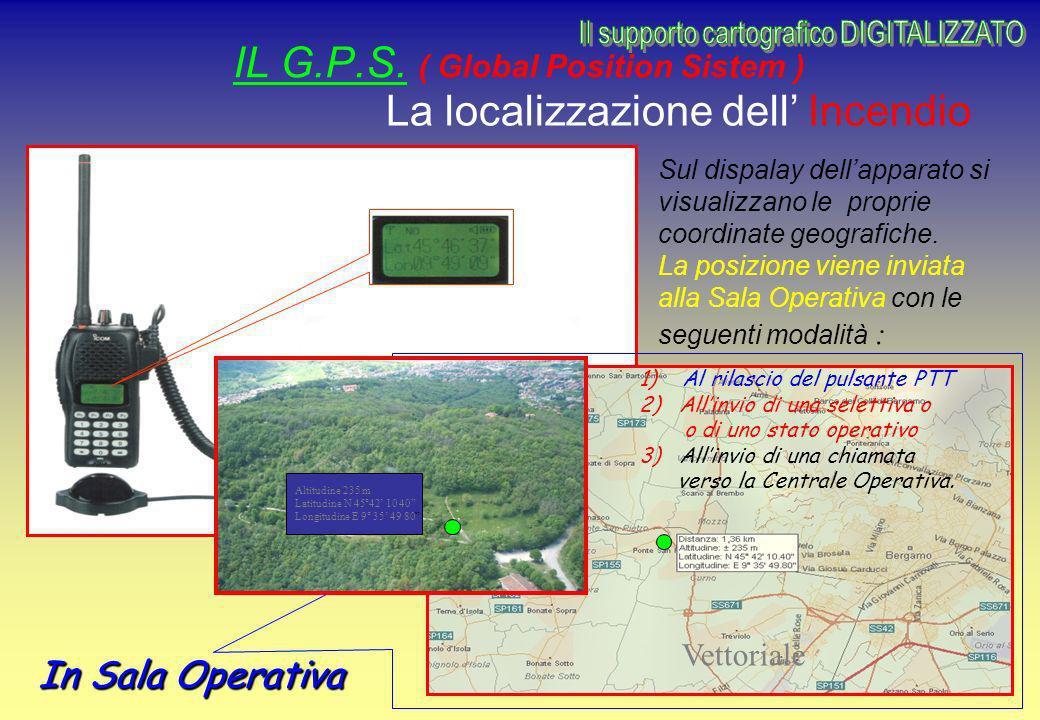 IL G.P.S. ( Global Position Sistem ) In Sala Operativa La localizzazione dell Incendio Sul dispalay dellapparato si visualizzano le proprie coordinate