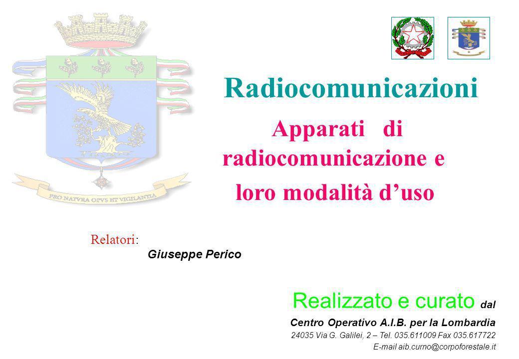 Radiocomunicazioni Apparati di radiocomunicazione e loro modalità duso Realizzato e curato dal Centro Operativo A.I.B. per la Lombardia 24035 Via G. G