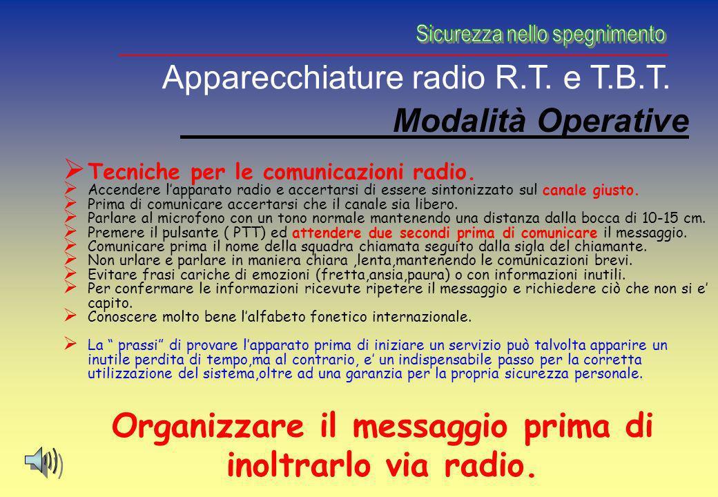 Modalità Operative Tecniche per le comunicazioni radio. Accendere lapparato radio e accertarsi di essere sintonizzato sul canale giusto. Prima di comu