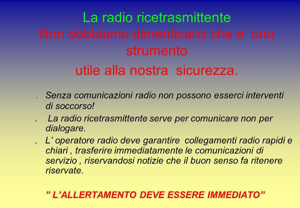 La radio ricetrasmittente Non dobbiamo dimenticarci che e uno strumento utile alla nostra sicurezza.. Senza comunicazioni radio non possono esserci in