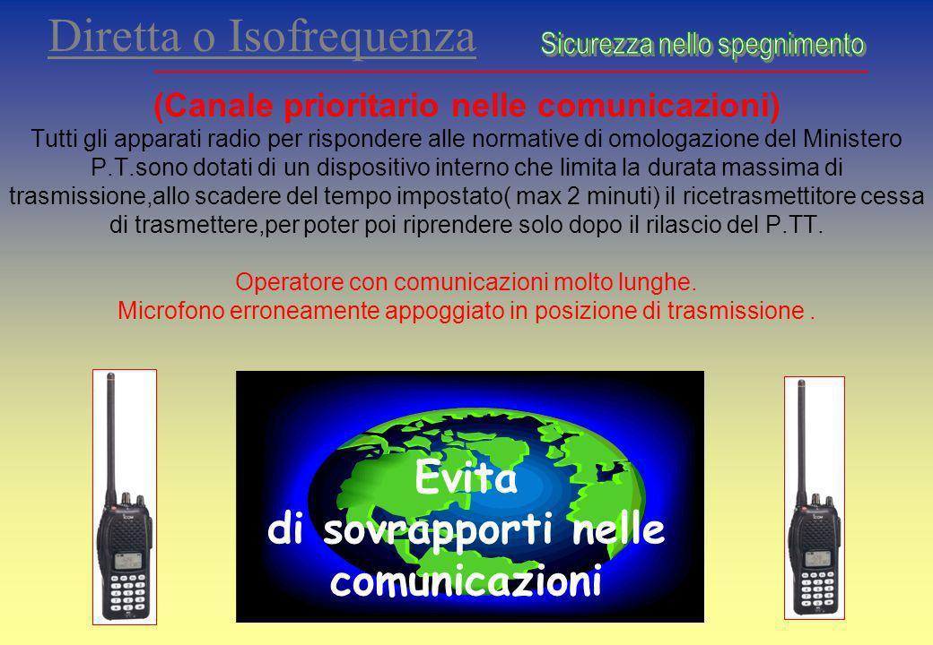 Diretta o Isofrequenza (Canale prioritario nelle comunicazioni) Tutti gli apparati radio per rispondere alle normative di omologazione del Ministero P