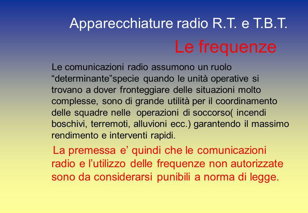 Le frequenze Le comunicazioni radio assumono un ruolo determinantespecie quando le unità operative si trovano a dover fronteggiare delle situazioni mo