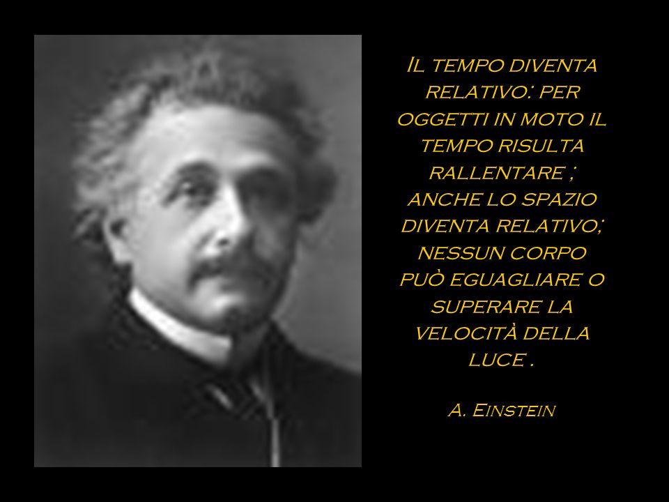Il tempo diventa relativo: per oggetti in moto il tempo risulta rallentare ; anche lo spazio diventa relativo; nessun corpo può eguagliare o superare