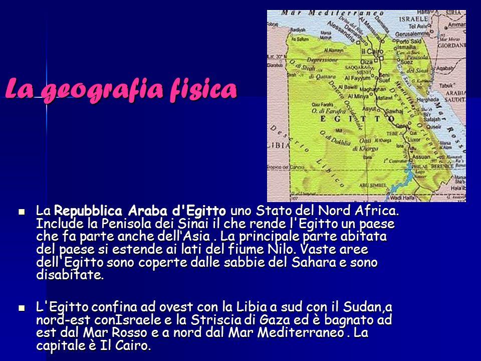 La geografia fisica La Repubblica Araba d'Egitto uno Stato del Nord Africa. Include la Penisola dei Sinai il che rende l'Egitto un paese che fa parte