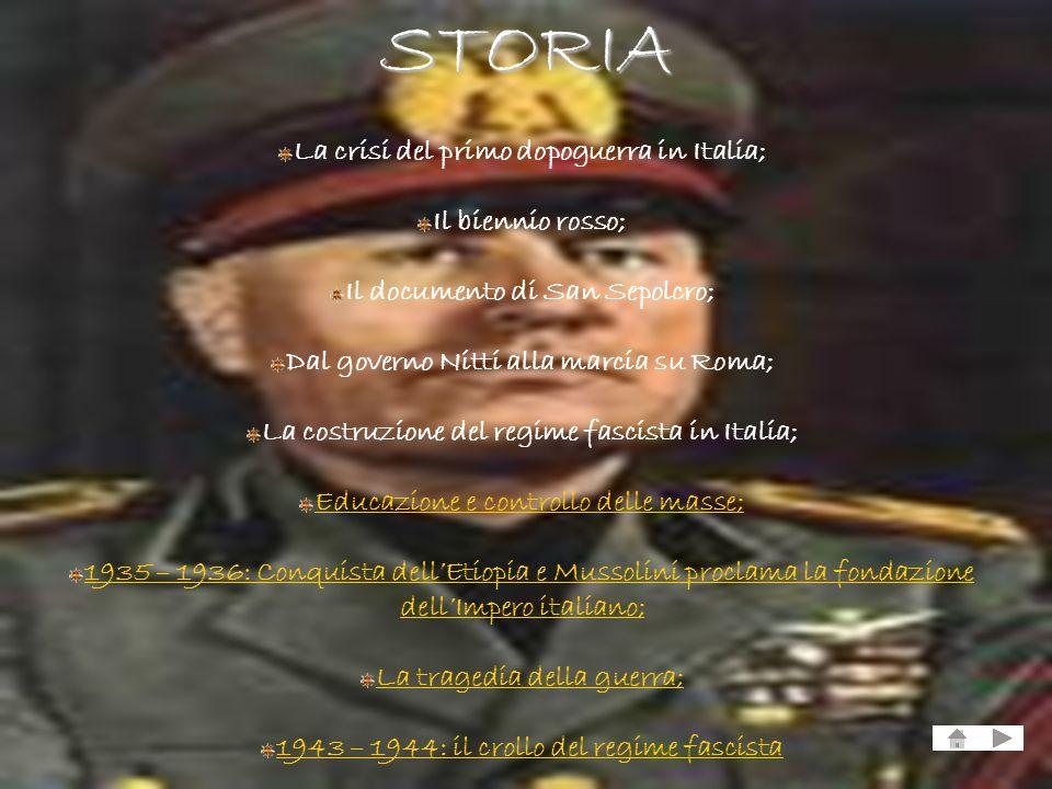 La crisi del primo dopoguerra in Italia; Il biennio rosso; Il documento di San Sepolcro; Dal governo Nitti alla marcia su Roma; La costruzione del reg