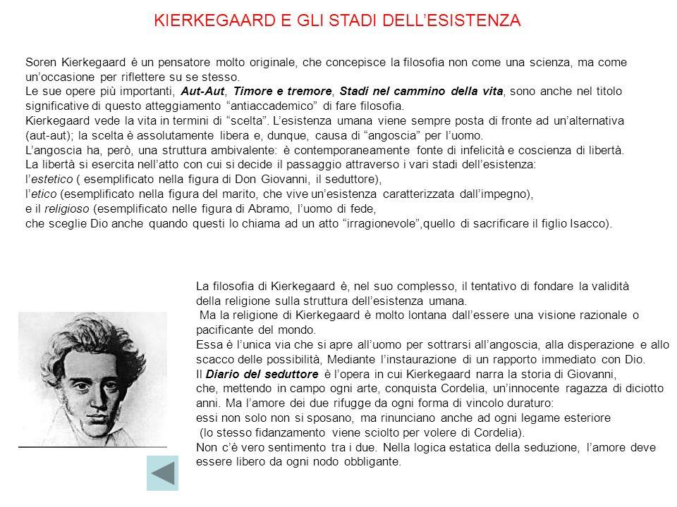 KIERKEGAARD E GLI STADI DELLESISTENZA Soren Kierkegaard è un pensatore molto originale, che concepisce la filosofia non come una scienza, ma come unoc