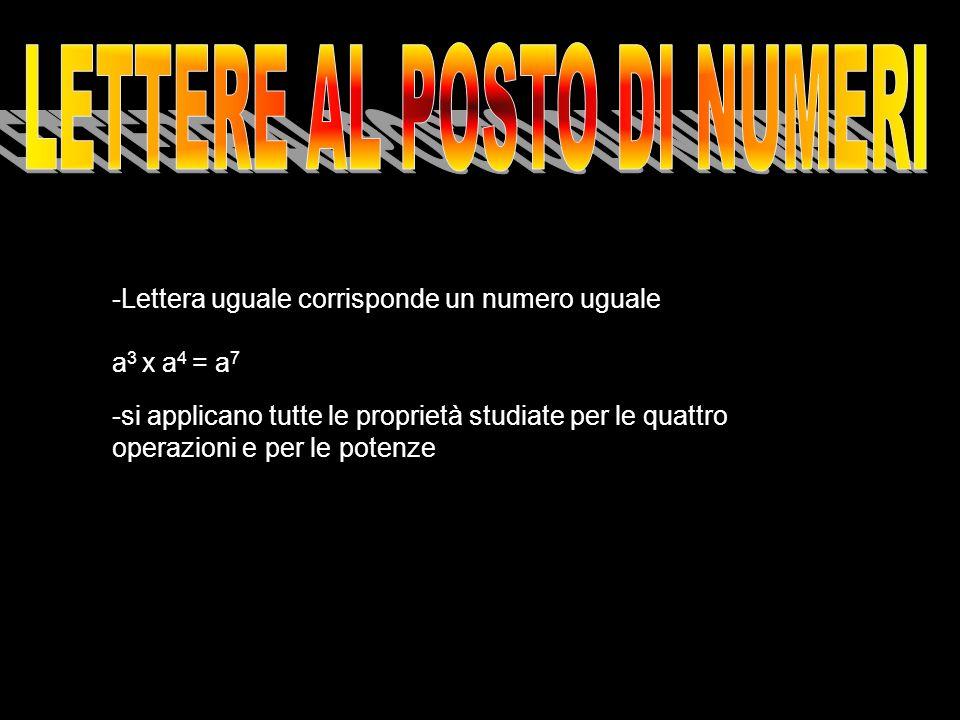 -Lettera uguale corrisponde un numero uguale a 3 x a 4 = a 7 -si applicano tutte le proprietà studiate per le quattro operazioni e per le potenze