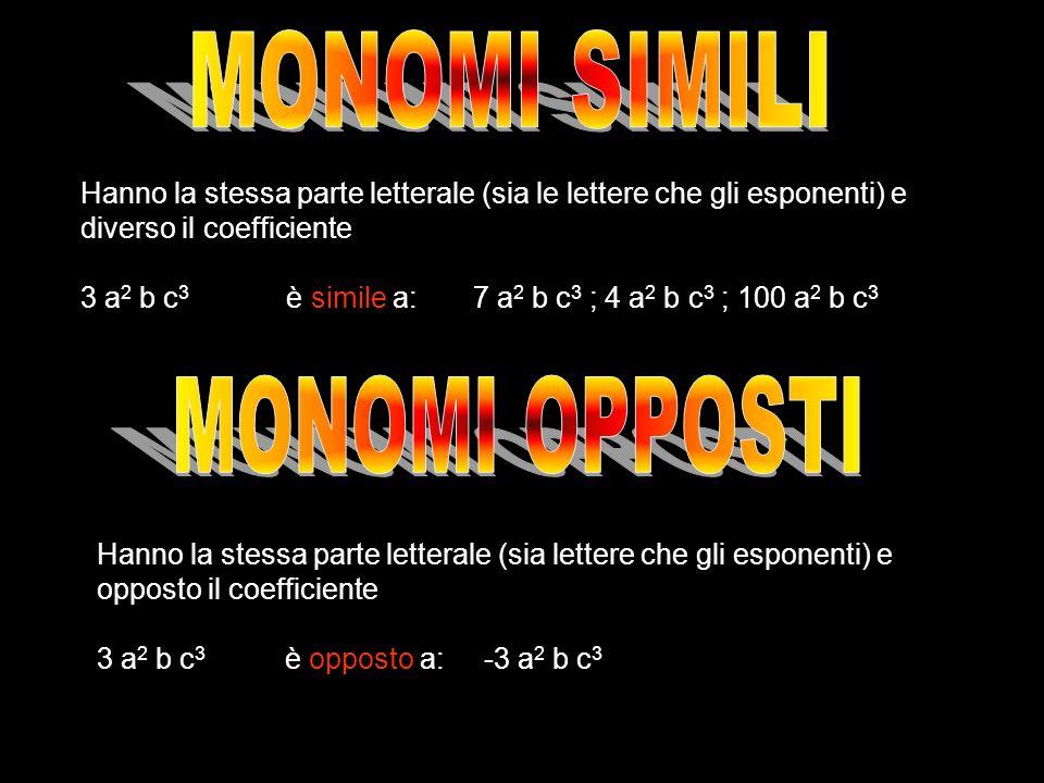 Hanno la stessa parte letterale (sia le lettere che gli esponenti) e diverso il coefficiente 3 a 2 b c 3 è simile a: 7 a 2 b c 3 ; 4 a 2 b c 3 ; 100 a