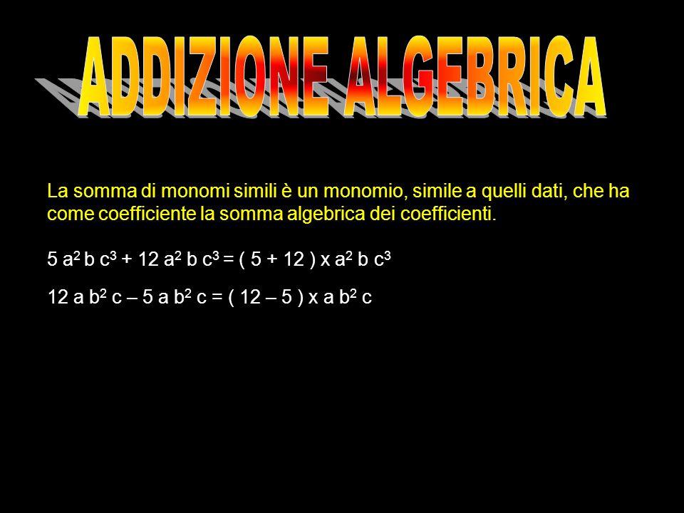 La somma di monomi simili è un monomio, simile a quelli dati, che ha come coefficiente la somma algebrica dei coefficienti. 5 a 2 b c 3 + 12 a 2 b c 3