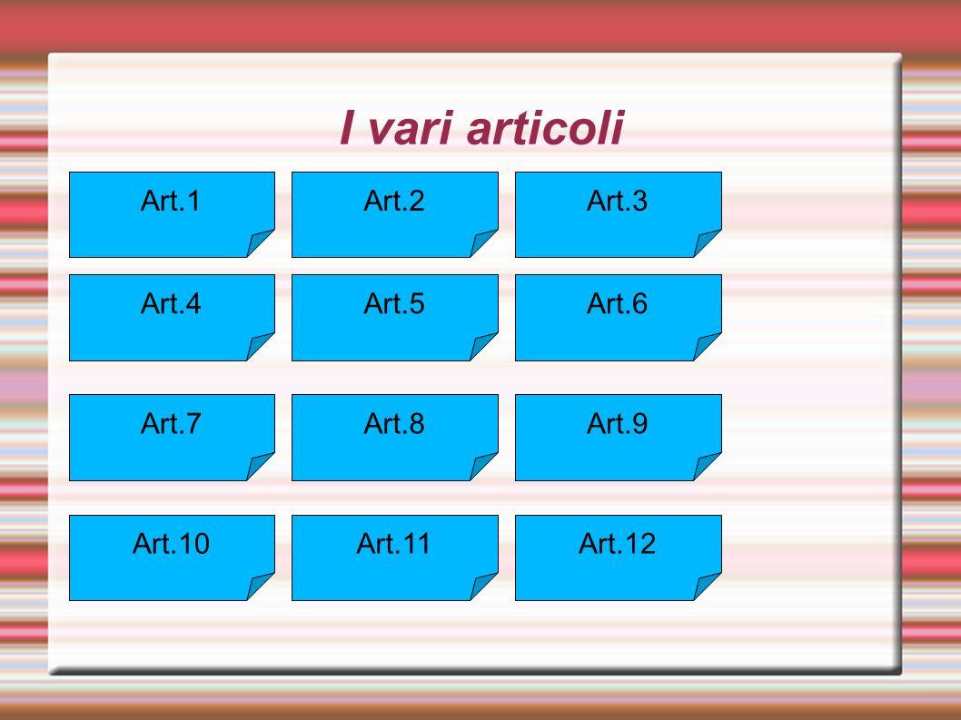 I vari articoli Art.1 Art.10 Art.9Art.8Art.7 Art.6Art.5Art.4 Art.3Art.2 Art.12Art.11