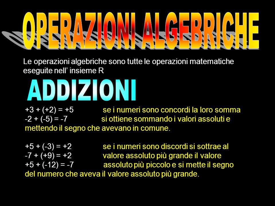 Le operazioni algebriche sono tutte le operazioni matematiche eseguite nell insieme R +3 + (+2) = +5 se i numeri sono concordi la loro somma -2 + (-5)