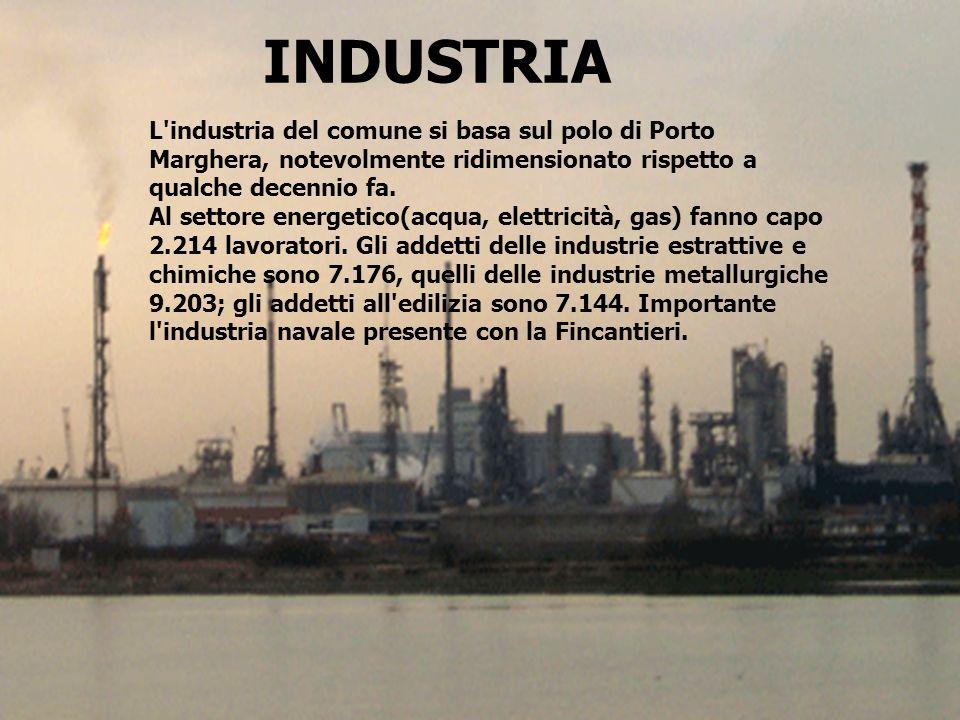 INDUSTRIA L'industria del comune si basa sul polo di Porto Marghera, notevolmente ridimensionato rispetto a qualche decennio fa. Al settore energetico