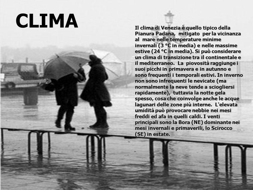 Il clima di Venezia è quello tipico della Pianura Padana, mitigato per la vicinanza al mare nelle temperature minime invernali (3 °C in media) e nelle