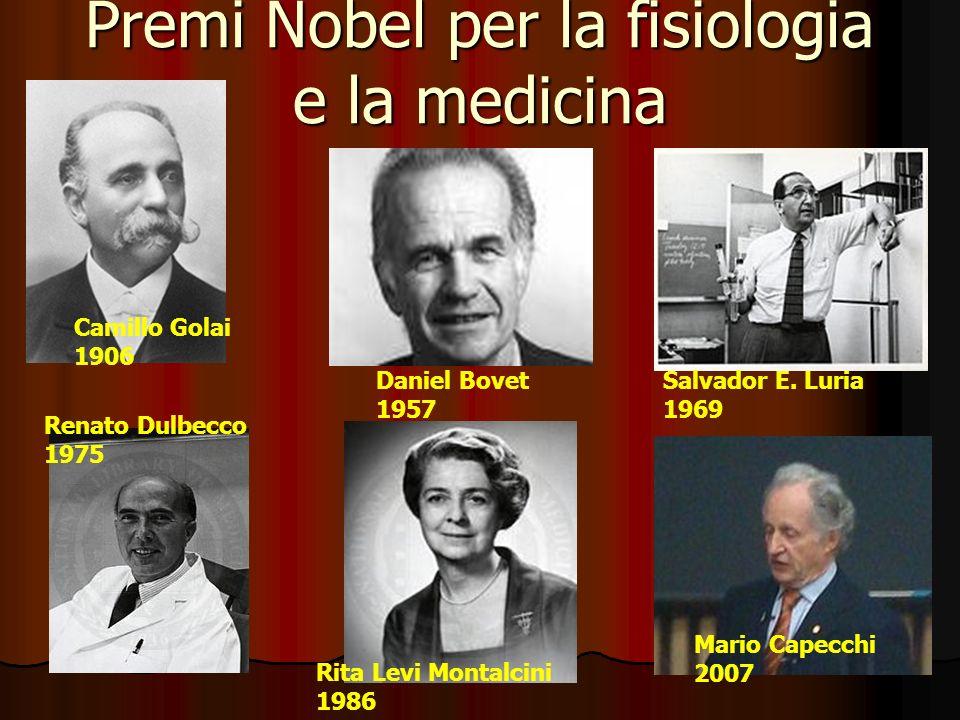 Premi Nobel per la fisiologia e la medicina Camillo Golai 1906 Daniel Bovet 1957 Salvador E.
