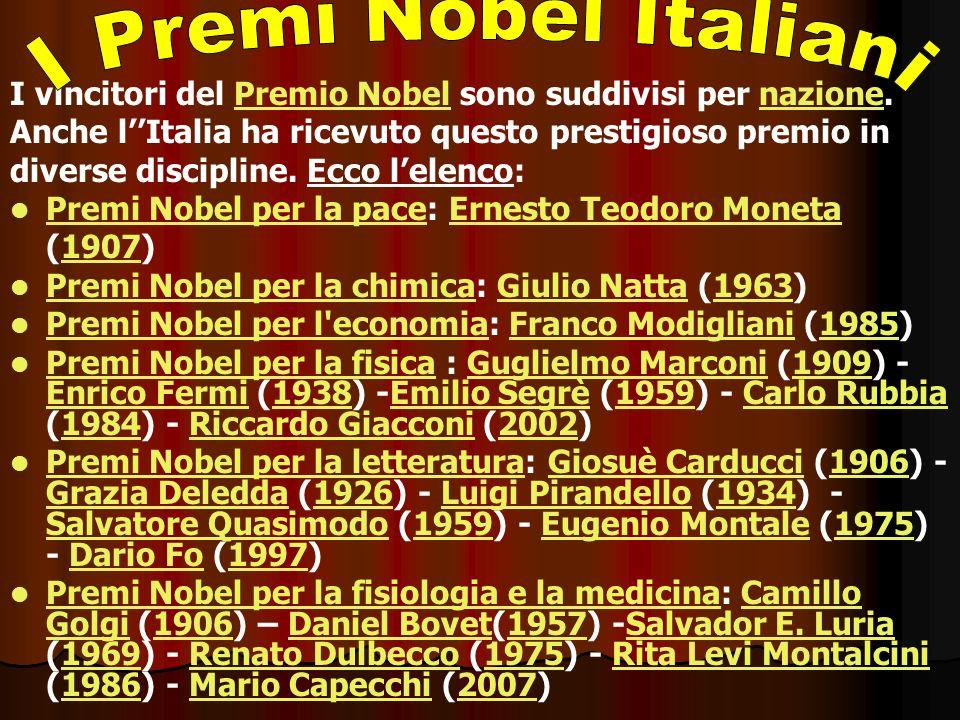 I vincitori del Premio Nobel sono suddivisi per nazione.