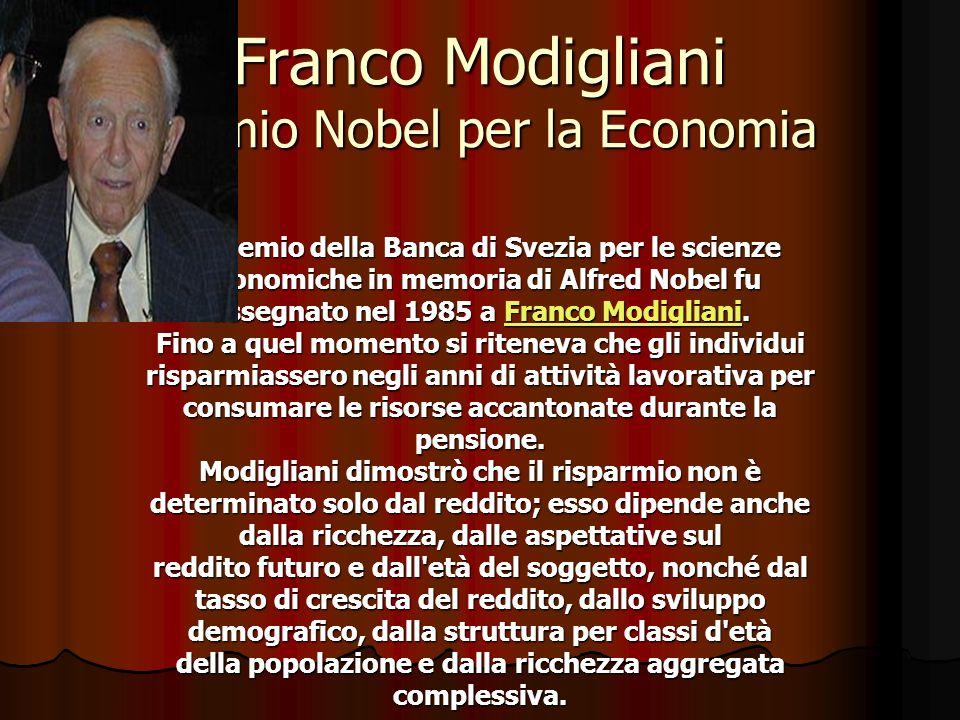 Franco Modigliani Premio Nobel per la Economia Il Premio della Banca di Svezia per le scienze economiche in memoria di Alfred Nobel fu assegnato nel 1985 a F F F F F rrrr aaaa nnnn cccc oooo M M M M oooo dddd iiii gggg llll iiii aaaa nnnn iiii.