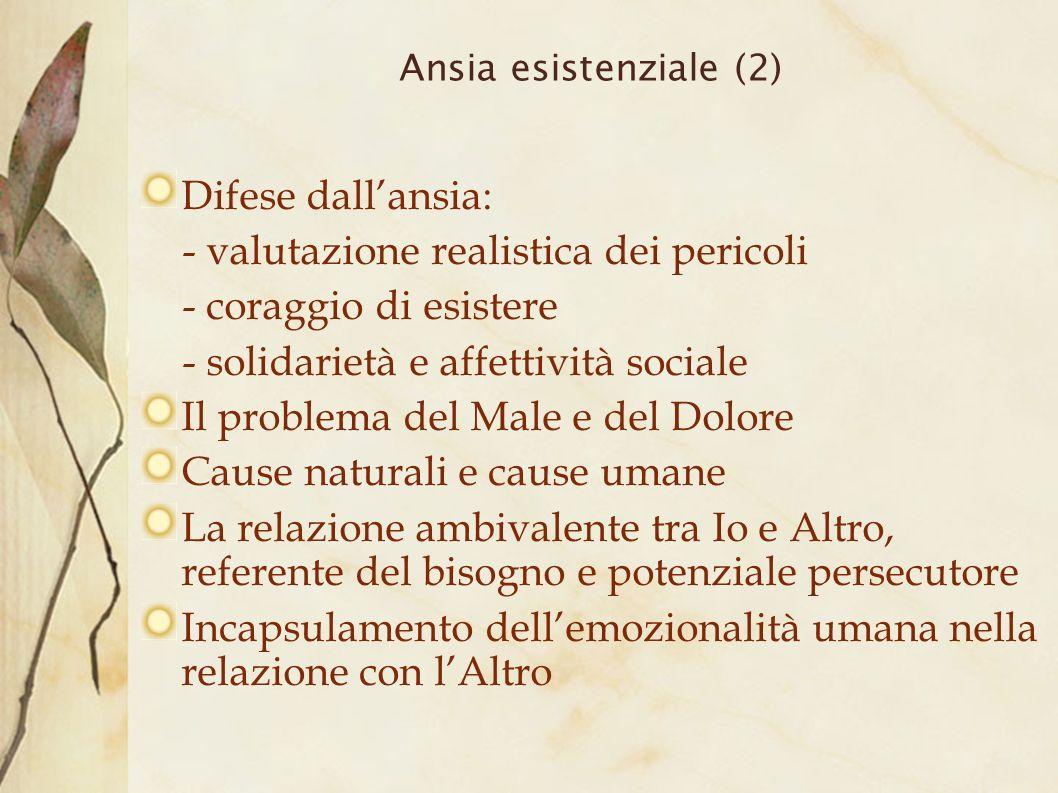 Ansia esistenziale (2) Difese dallansia: - valutazione realistica dei pericoli - coraggio di esistere - solidarietà e affettività sociale Il problema
