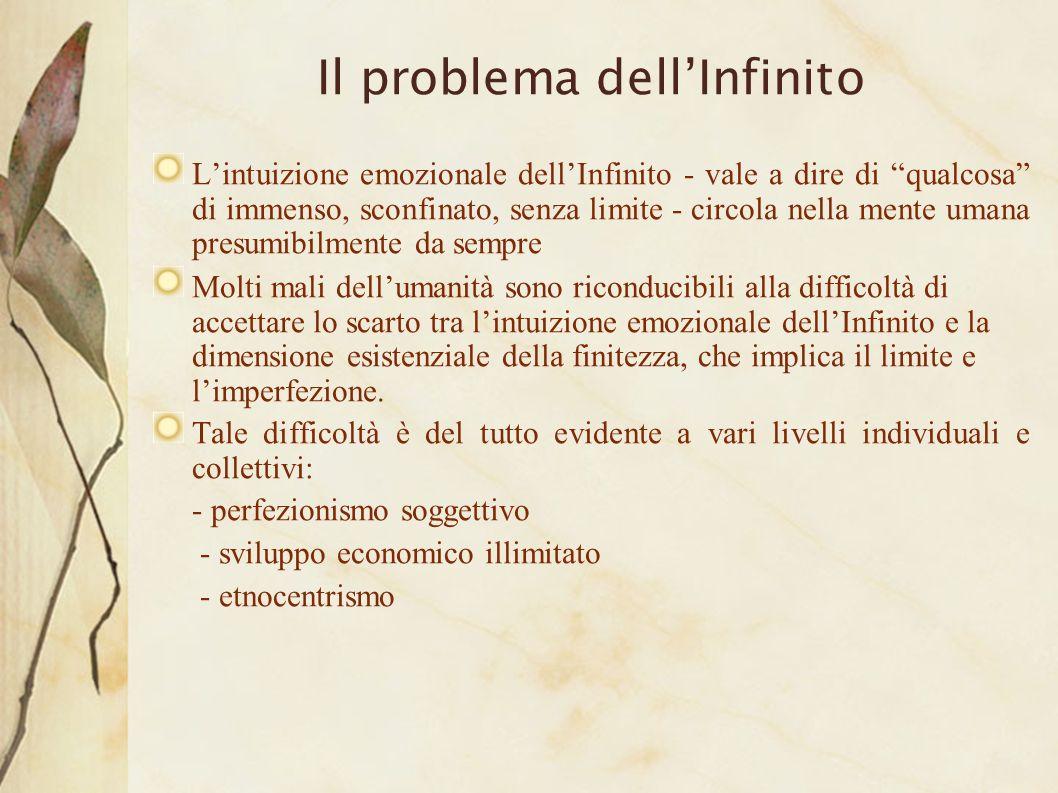 Il problema dellInfinito Lintuizione emozionale dellInfinito - vale a dire di qualcosa di immenso, sconfinato, senza limite - circola nella mente uman