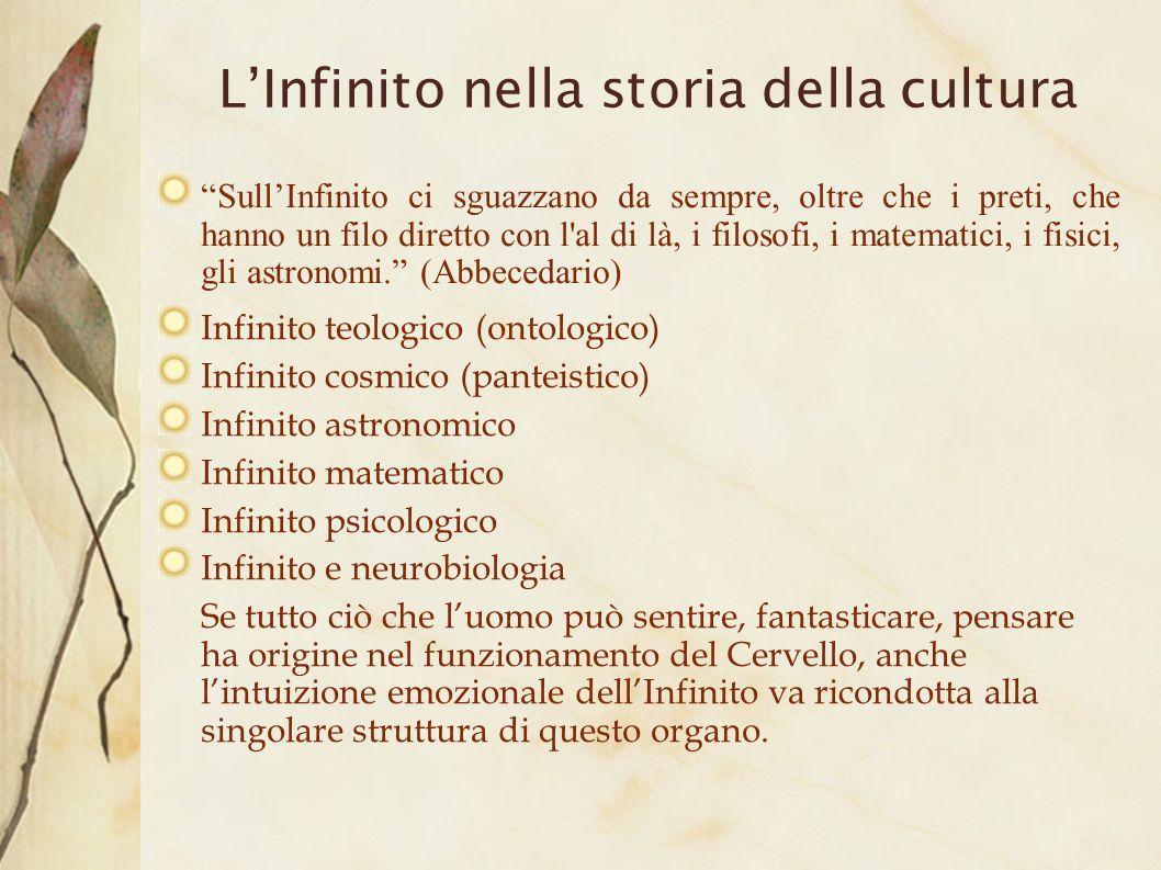 LInfinito nella storia della cultura SullInfinito ci sguazzano da sempre, oltre che i preti, che hanno un filo diretto con l'al di là, i filosofi, i m