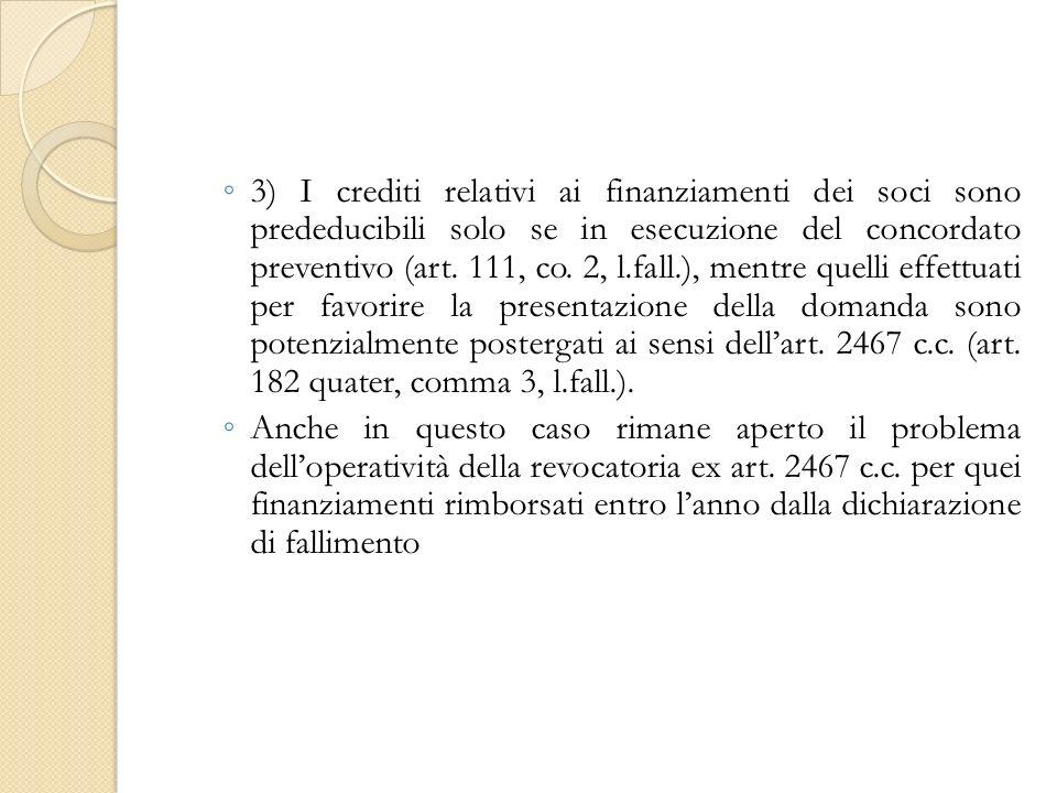 3) I crediti relativi ai finanziamenti dei soci sono prededucibili solo se in esecuzione del concordato preventivo (art.